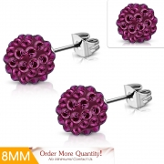 8mm Stainless Steel Argil Disco Ball Shamballa Stud Earrings w/ Pink Red CZ (pair) - XRY474