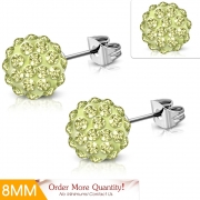 8mm Stainless Steel Argil Disco Ball Shamballa Stud Earrings w/ Jonquil CZ (pair) - XRY693