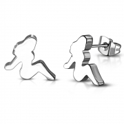 Stainless Steel Sexy Lady Stud Earrings (pair) - XXE146