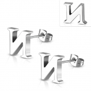 Stainless Steel Alphabet N Stud Earrings (pair) - XXE186