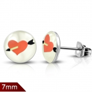 7mm Stainless Steel 4-tone Love Heart Cupid Arrow Round Circle Stud Earrings (pair) - XXE367