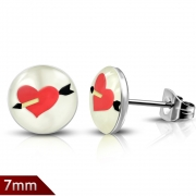 7mm Stainless Steel 4-tone Love Heart Cupid Arrow Round Circle Stud Earrings (pair) - XXE368