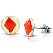 7mm Stainless Steel 3-tone Playing Card Poker Diamonds Round Circle Stud Earrings (pair) - XXE449