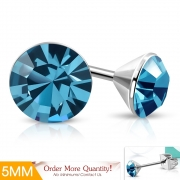 5mm Stainless Steel Bezel-Set Round Circle Stud Earrings w/ Aquamarine CZ (pair) - XXE457