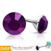 5mm Stainless Steel Bezel-Set Round Circle Stud Earrings w/ Amethyst CZ (pair) - XXE459