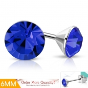 6mm Stainless Steel Bezel-Set Round Circle Stud Earrings w/ Capri Blue CZ (pair) - XXE483
