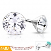 6mm Stainless Steel Bezel-Set Round Circle Stud Earrings w/ Clear CZ (pair) - XXE487