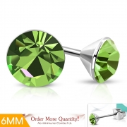 6mm Stainless Steel Bezel-Set Round Circle Stud Earrings w/ Olivine CZ (pair) - XXE492
