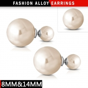 8mm&15mm  Fashion Rose Gold Resin Faux Pearl Bead Ball Stud Double Earrings (pair) - XXM226