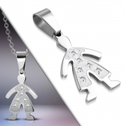 Stainless Steel Pave-Set Boy Charm Pendant w/ Clear CZ - XXP063