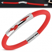 Red Rubber Bracelet w/ Stainless Steel Cut-out Tribal Wing Watch-Style - XXZ045
