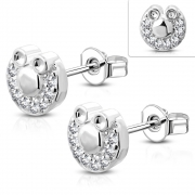 Brass w/ Silver Plating Micro Pave Mouse Circle Stud Earrings w/ Clear CZ (Pair) - YDE006