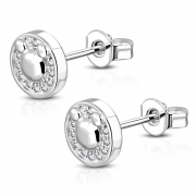 Brass w/ Silver Plating Micro Pave Mouse Circle Stud Earrings w/ Clear CZ (Pair) - YDE007