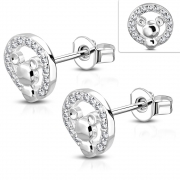 Brass w/ Silver Plating Micro Pave Mouse Circle Stud Earrings w/ Clear CZ (Pair) - YDE008