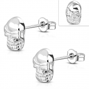 Brass w/ Silver Plating Grinning Skull Stud Earrings (Pair) - YDE020