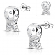Brass w/ Silver Plating Micro Pave Fish Stud Earrings w/ Clear CZ (Pair) - YDE023