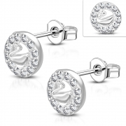 Brass w/ Silver Plating Micro Pave Swan Circle Stud Earrings w/ Clear CZ (Pair) - YDE027