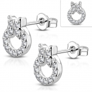 Brass w/ Silver Plating Micro Pave Butterfly Circle Stud Earrings w/ Clear CZ (Pair) - YDE031