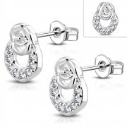 Brass w/ Silver Plating Micro Pave Rose Flower Circle Stud Earrings w/ Clear CZ (Pair) - YDE032
