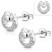 Brass w/ Silver Plating Micro Pave Mouse Circle Stud Earrings w/ Clear CZ (Pair) - YDE034