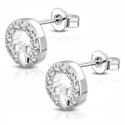 Brass w/ Silver Plating Micro Pave Little Mouse Circle Stud Earrings w/ Clear CZ (Pair) - YDE035