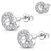 Brass w/ Silver Plating Micro Pave Little Mouse Circle Stud Earrings w/ Clear CZ (Pair) - YDE036