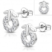 Brass w/ Silver Plating Micro Pave Fancy Circle Stud Earrings w/ Clear CZ (Pair) - YDE037
