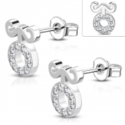 Brass w/ Silver Plating Micro Pave Fancy Circle Stud Earrings w/ Clear CZ (Pair) - YDE038