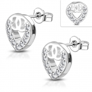 Brass w/ Silver Plating Micro Pave Alphabet C Love Heart Stud Earrings w/ Clear CZ (Pair) - YDE043