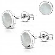 Brass w/ Silver Plating Round Circle Stud Earrings w/ Shell Inlay (Pair) - YDE045
