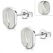 Brass w/ Silver Plating Oval Stud Earrings w/ Shell Inlay (Pair) - YDE046