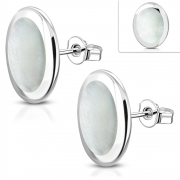 Brass w/ Silver Plating Oval Stud Earrings w/ Shell Inlay (Pair) - YDE047