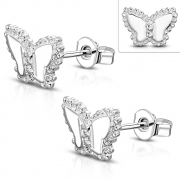 Brass w/ Silver Plating Micro Pave Butterfly Stud Earrings (Pair) - YDE057