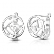 Brass w/ Silver Plating Rose Flower Lever back Earrings (Pair) - YDE069