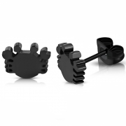Black Stainless Steel Crab Cancer Zodiac Sign Stud Earring (pair) - ZEM193