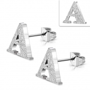 Stainless Steel Sandblasted Alphabet A Stud Earrings (pair) - ZEM219