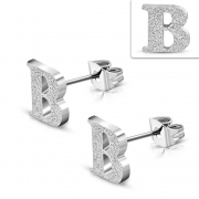 Stainless Steel Sandblasted Alphabet B Stud Earrings (pair) - ZEM220