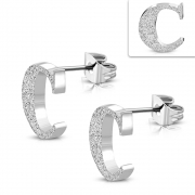 Stainless Steel Sandblasted Alphabet C Stud Earrings (pair) - ZEM221