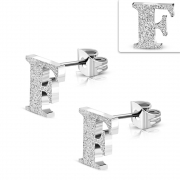 Stainless Steel Sandblasted Alphabet F Stud Earrings (pair) - ZEM224