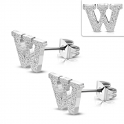 Stainless Steel Sandblasted Alphabet W Stud Earrings (pair) - ZEM241