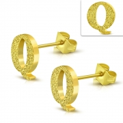Gold Color Plated Stainless Steel Sandblasted Alphabet Q Stud Earrings (pair) - ZEM261
