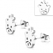 Stainless Steel Bear w/ Crown Stud Earrings (pair) - ZEM330
