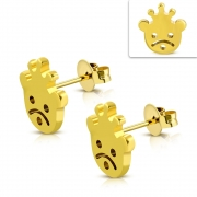 Gold Color Plated Stainless Steel Bear w/ Crown Stud Earrings (pair) - ZEM331