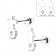 Stainless Steel Male Female Gender Symbol Stud Earrings w/ Clear CZ (pair) - ZEM384