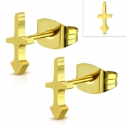 Gold Color Plated Stainless Steel Arrow Cross Stud Earrings (pair) - ZEM392
