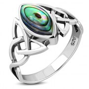 Abalone Celtic Knot Silver Ring, r550