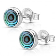 Abalone Round Silver Earrings - e365