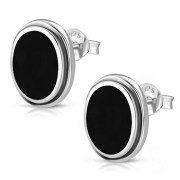 Black Onyx Oval Earrings - e368