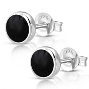 Black Onyx Round Silver Earrings - e365
