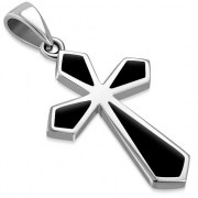 Black Onyx Silver Cross Pendant, p500